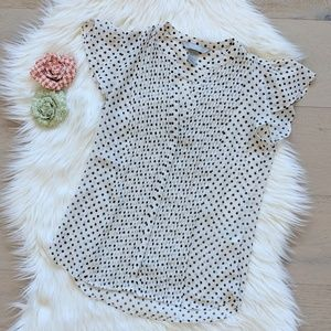 H&M polka dot pleated blouse